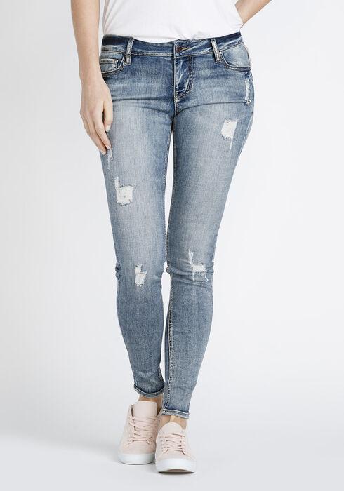 Women's Destroyed Skinny Jeans, MEDIUM WASH, hi-res