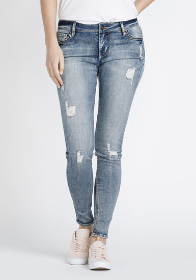 Women's Vintage Distressed Skinny Jeans, MEDIUM WASH, hi-res