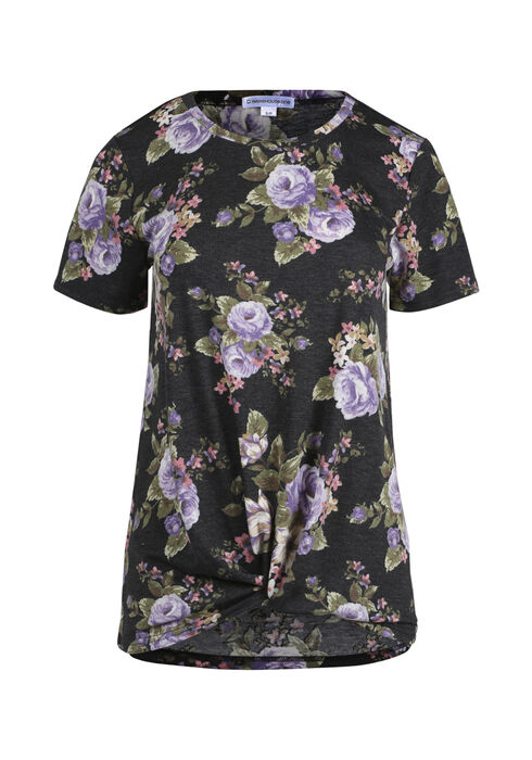 Women's Knotted Floral Top, CHARCOAL, hi-res