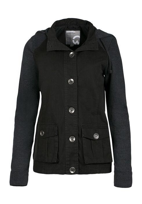 Ladies' Hooded Utility Jacket, BLACK, hi-res