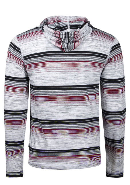 Men's Striped Hooded Tee, WHITE/BURGUNDY, hi-res