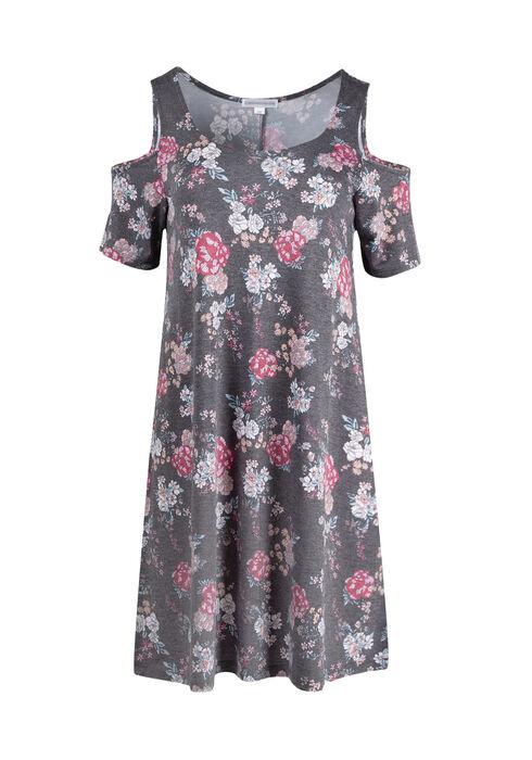 Women's Floral Cold Shoulder Dress, BLACK, hi-res