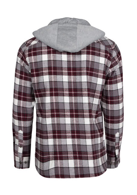 Men's Plaid Hooded Shirt Jacket, FIG, hi-res