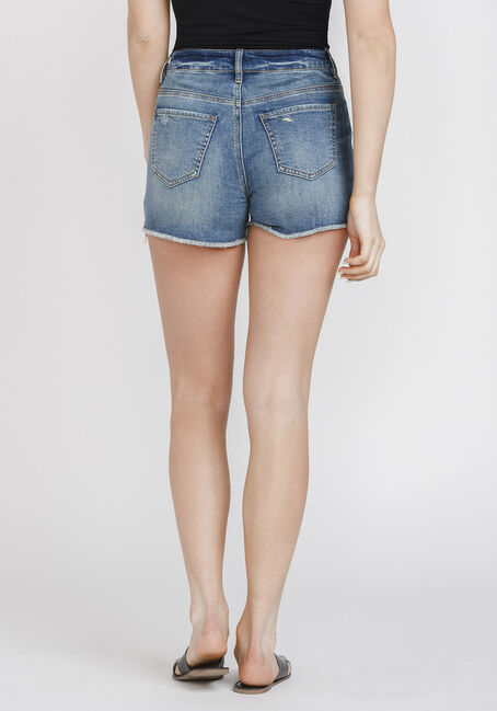 Women's High Rise Crochet Hem Short, MEDIUM WASH, hi-res