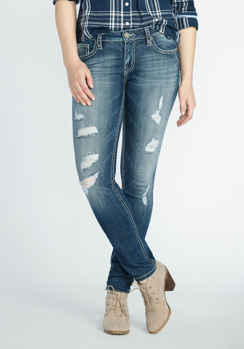 Ladies' Skinny Destroyed Jeans, LIGHT WASH, hi-res