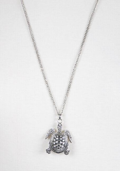 Ladies' Turtle Pendant Necklace, SILVER, hi-res