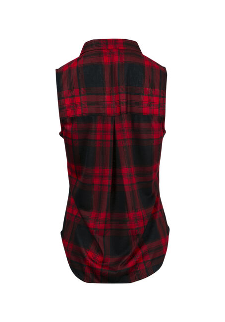 Women's Knit Buffalo Plaid Shirt, RED, hi-res