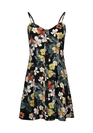 Women's Palm Print Dress, BLACK, hi-res