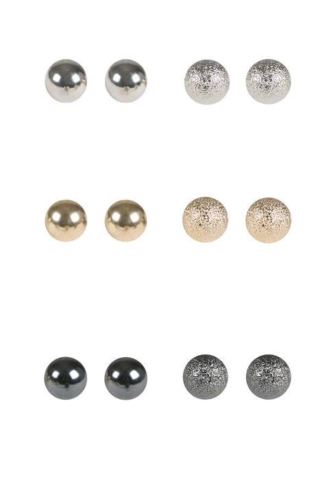 Ladies' 6 Pair Ball Stud Earrings, MIXED METALS, hi-res
