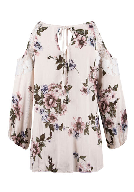 Ladies' Floral Cold Shoulder Top, CREAM, hi-res
