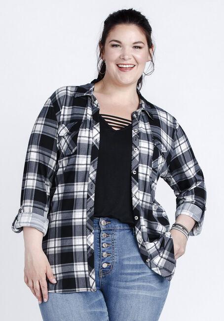 Women's 2-Pocket Knit Plaid Shirt, BLACK, hi-res