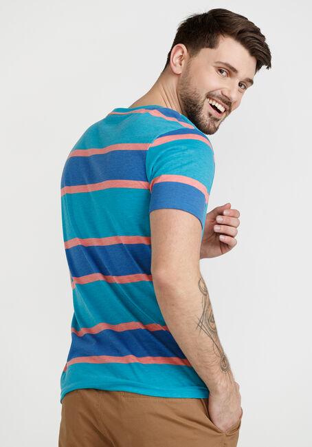 Men's Printed Stripe Crew Neck Tee, AQUA, hi-res