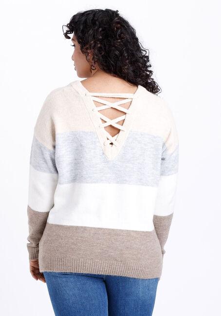 Women's Colour Block Lace Up Sweater, CAMEL MULTI, hi-res