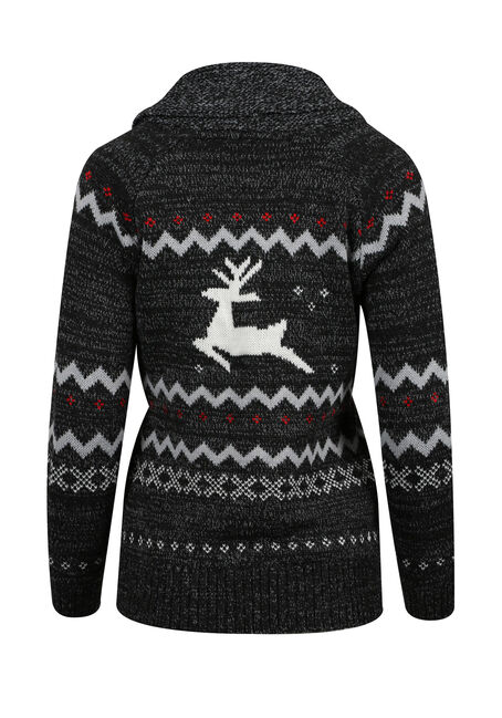 Ladies' Nordic Reindeer Cardigan, BLACK/ RED, hi-res