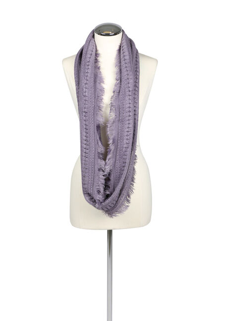 Ladies' Soft Fringe Infinity Scarf, PURPLE, hi-res