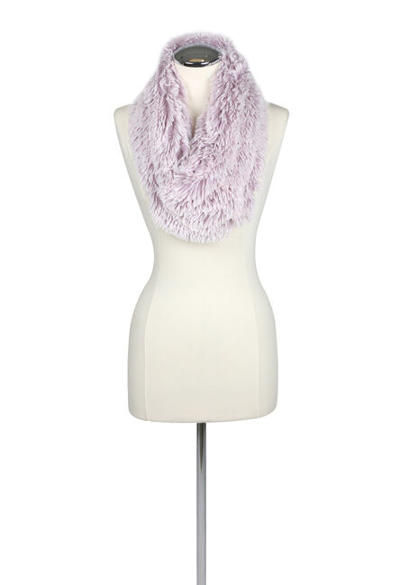 Ladies' Faux Fur Infinity Scarf, LILAC, hi-res