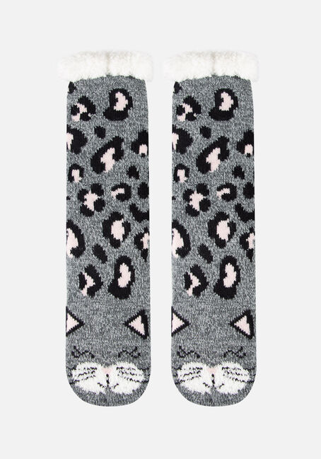 Women's Leopard Print Slipper Socks