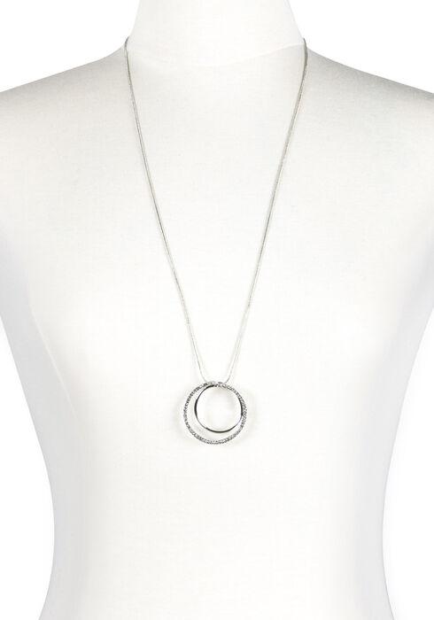 Women's Double Circle Necklace, RHODIUM, hi-res