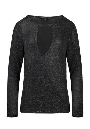 Women's Shimmer Wrap Front Top, BLACK, hi-res