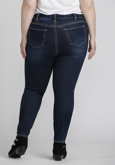 Women's Plus Size Indigo Wash Skinny Jeans, DARK WASH, hi-res