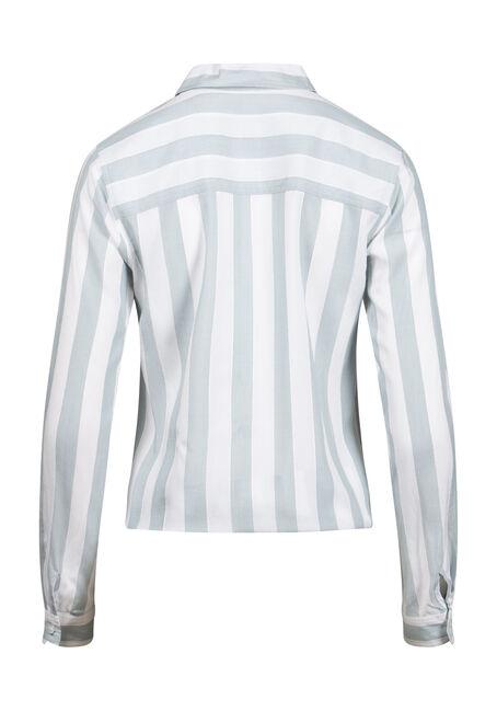 Women's Striped Tie Hem Shirt, AQUA, hi-res