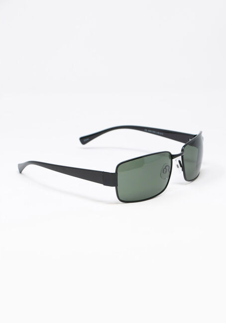Men's Rectangle Aviator Sunglasses, BLACK, hi-res