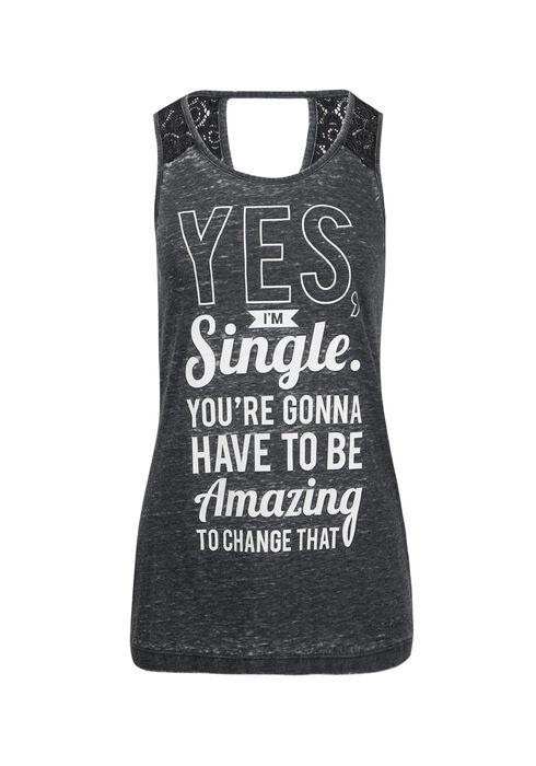 Ladies' Yes I'm Single Tank, BLACK, hi-res