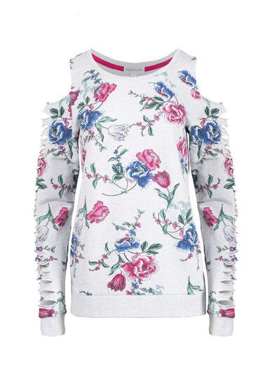 Women's Floral Shredded Sleeve Fleece, HEATHER GREY, hi-res