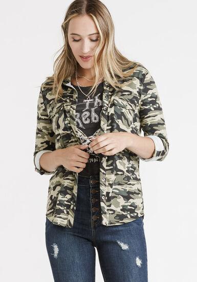 Women's Camo Knit Button Front Shirt, OLIVE, hi-res