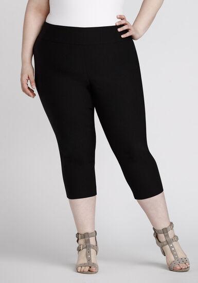 Women's Plus Size Pull On Black Capri Pant, BLACK, hi-res
