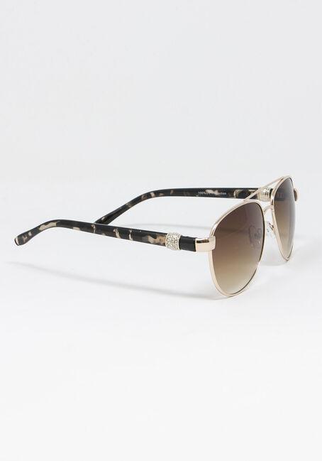 Women's Crystal Arm Tort Sunglasses, BROWN, hi-res