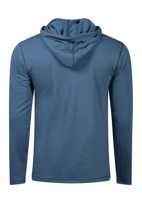 Men's Colour Block Stripe Hooded Tee, LAKE BLUE, hi-res