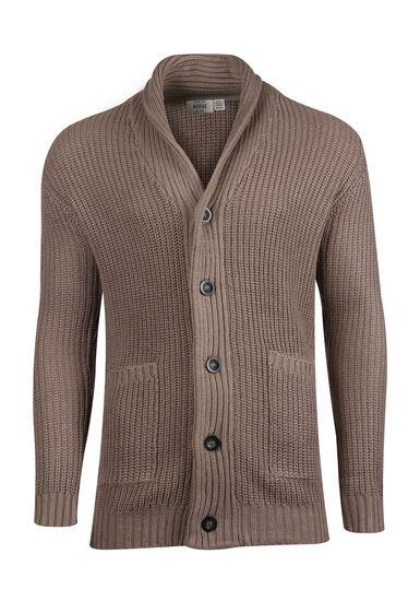 Men's Button Front Cardigan, SHITAKE, hi-res