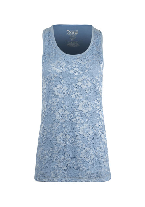 Ladies' Lace Overlay Tank, ROBINS EGG, hi-res