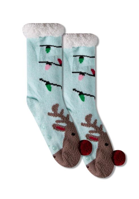 Women's Reindeer Slipper Socks, PALE BLUE, hi-res