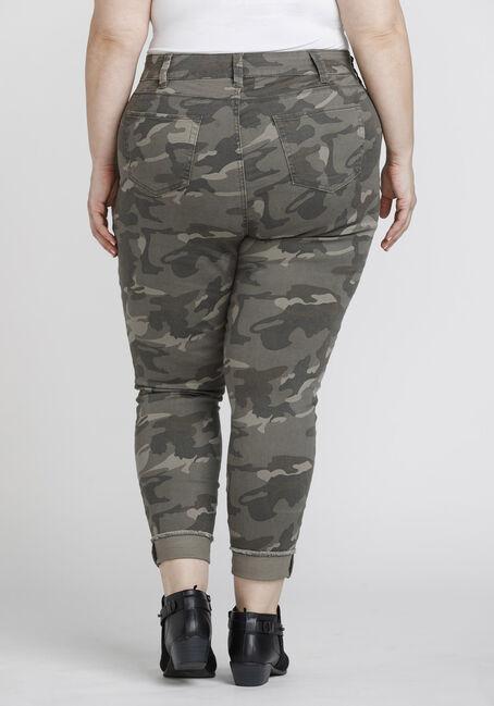 Women's Plus Size Frayed Hem Camo Skinny Jeans, DARK OLIVE, hi-res