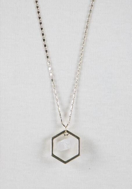 Ladies' Octagon Rock Necklace, GOLD, hi-res
