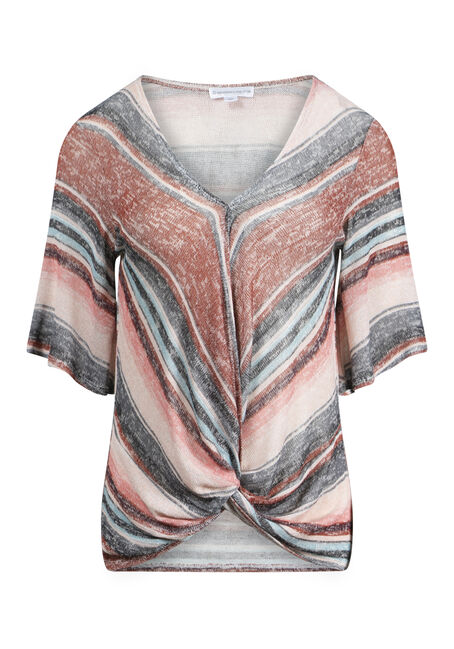 Women's Multi Stripe Front Knot Top