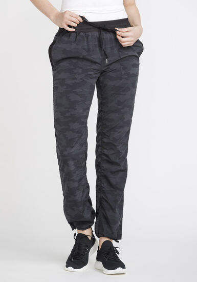 Women's Camo Ruched Pant, BLACK, hi-res