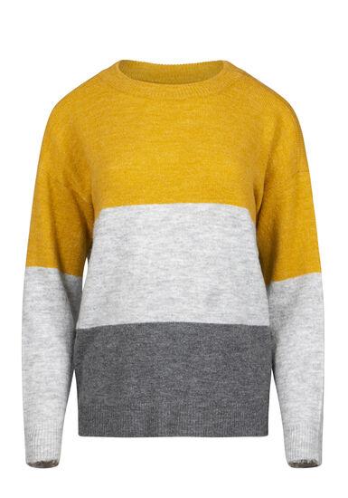 Women's Colour Block Sweater, MUSTARD, hi-res