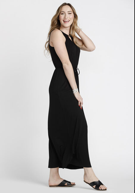 Women's Keyhole Maxi Dress, BLACK, hi-res