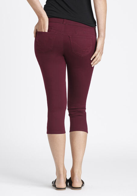Ladies' Skinny Capri, BURGUNDY, hi-res