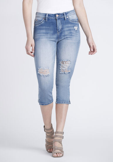 Women's High Rise Distressed Capri, LIGHT WASH, hi-res