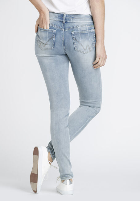 Women's Bleach Wash Distressed Skinny Jeans, LIGHT WASH, hi-res