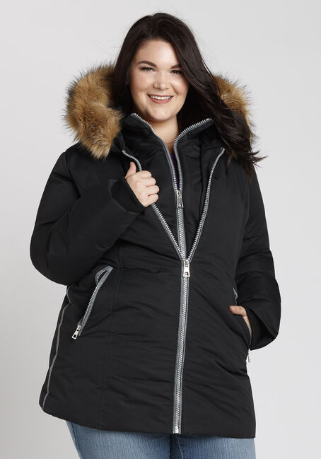 Ladies' Plus Size Quilted Parka, BLACK, hi-res