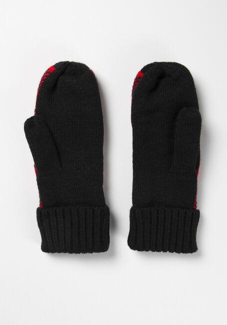 Women's Fleece Buffalo Plaid Mitten, RED/BLACK, hi-res