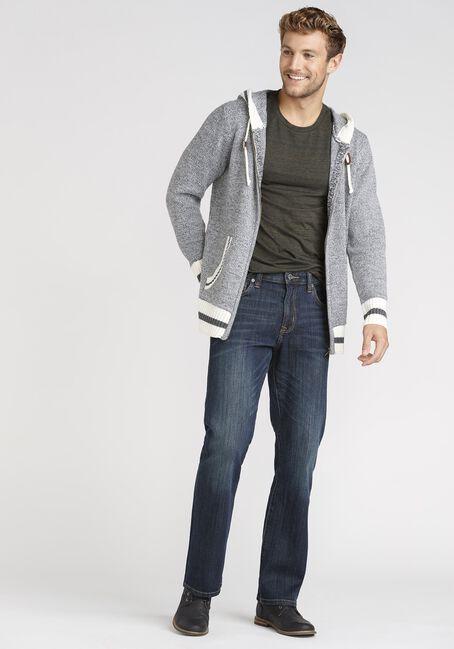 Men's Zip Up Cabin Sweater, HEATHER GREY, hi-res
