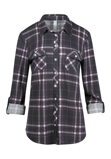 Ladies' Relaxed Knit Plaid Shirt
