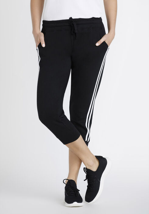 Women's Side Strip Jogger Capri, BLACK, hi-res