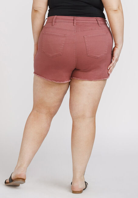 Women's Plus Size Frayed Hem Not-So-Short Short, DARK COPPER, hi-res